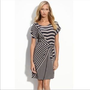 Striped BCBG MAXAZRIA Silk Short Sleeve Dress